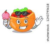 with ice cream pita bread...   Shutterstock .eps vector #1243795618