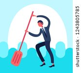 businessman paddling water... | Shutterstock .eps vector #1243805785