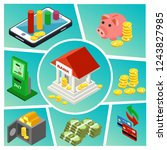 isometric banking and finance... | Shutterstock .eps vector #1243827985