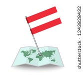 map with flag of austria...