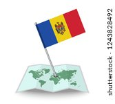 map with flag of moldova...