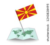 map with flag of macedonia...