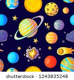 space hand drawn color seamless ... | Shutterstock .eps vector #1243835248