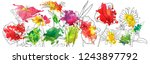 vector drawing flowers with... | Shutterstock .eps vector #1243897792