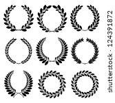 set from  black laurel wreath... | Shutterstock .eps vector #124391872