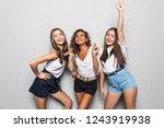 three girl friends happy... | Shutterstock . vector #1243919938