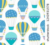 hot air balloon repeat pattern. ... | Shutterstock .eps vector #1243931578