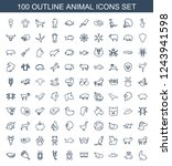 animal icons. set of 100... | Shutterstock .eps vector #1243941598
