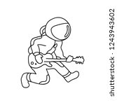 the astronaut plays the...   Shutterstock .eps vector #1243943602