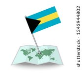 map with flag of bahamas...