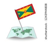 map with flag of grenada...