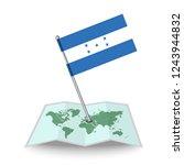 map with flag of honduras...