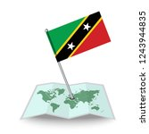 map with flag of saint kitts...