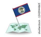map with flag of belize...