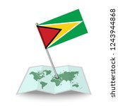 map with flag of guyana...