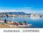 Sausalito, California/United States-September23, 2018: Preparing for Kayak tour in Sausalito's waterfront, Richardson Bay - stock photo