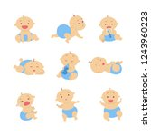 baby boy set. beautiful baby in ... | Shutterstock . vector #1243960228