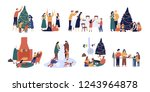 bundle of people preparing for... | Shutterstock . vector #1243964878