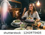 vegetarian restaurant. cheerful ... | Shutterstock . vector #1243975405