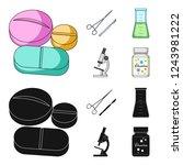 a bank of vitamins  a flask... | Shutterstock . vector #1243981222