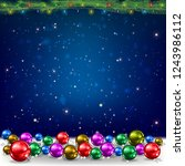 christmas blue background with... | Shutterstock .eps vector #1243986112
