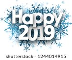 happy 2019 winter sign with... | Shutterstock .eps vector #1244014915