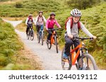 pre teen boy riding mountain... | Shutterstock . vector #1244019112