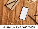 home office desk with new model ... | Shutterstock . vector #1244021008