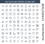 speed icons. set of 100 outline ... | Shutterstock .eps vector #1244027608