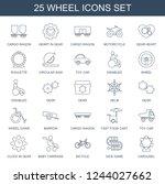 wheel icons. set of 25 line... | Shutterstock .eps vector #1244027662