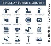 hygiene icons. set of 16 filled ... | Shutterstock .eps vector #1244030902