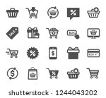 shopping icons. gift box ... | Shutterstock .eps vector #1244043202