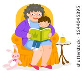 grandma reading a story to her... | Shutterstock .eps vector #1244045395