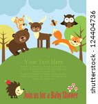 baby shower card design. forest ... | Shutterstock .eps vector #124404736