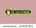 gold shiny badge with battery... | Shutterstock .eps vector #1244047822