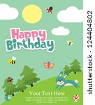 happy birthday card. forest... | Shutterstock .eps vector #124404802