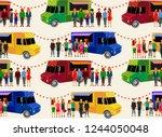food trucks seamless pattern....   Shutterstock .eps vector #1244050048