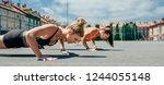 two young sportswomen doing... | Shutterstock . vector #1244055148
