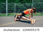 two young sportswomen doing... | Shutterstock . vector #1244055175