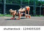 two young sportswomen doing... | Shutterstock . vector #1244055205