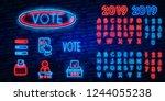 vote neon sign vector. election ... | Shutterstock .eps vector #1244055238