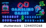 neon casino sign. poker ... | Shutterstock .eps vector #1244055268
