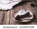 kladdkaka. traditional swedish... | Shutterstock . vector #1244057038