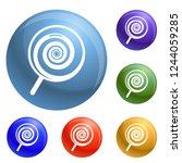 swirl lollipop icons set 6...
