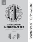 g letter maze. set for the... | Shutterstock .eps vector #1244063002