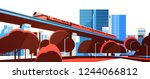 subway monorail over city... | Shutterstock .eps vector #1244066812