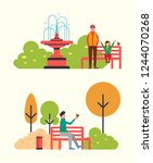 man sitting on bench and... | Shutterstock .eps vector #1244070268