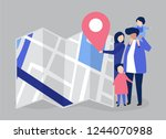 characters of family with a map ... | Shutterstock .eps vector #1244070988
