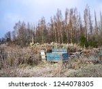blue wooden utensil box at the... | Shutterstock . vector #1244078305