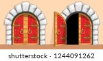 red wooden gates of a medieval... | Shutterstock .eps vector #1244091262